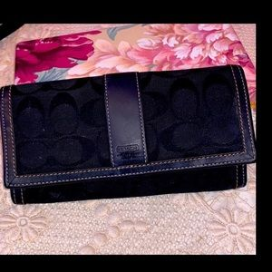 NWT COACH Black C Large Wallet Logo Leather/Canvas